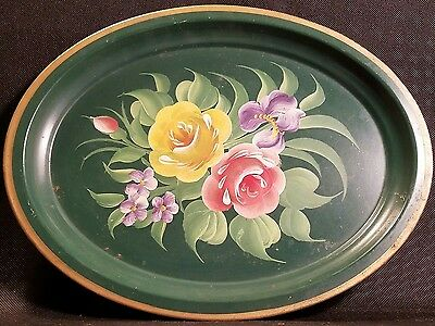 Vintage Oval Hand Painted Green Flower Tray with Gold Trim - Pilgrim Tole Art