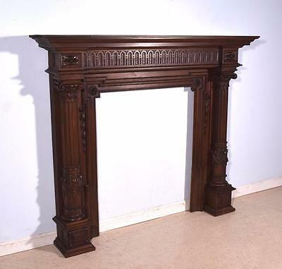 Antique French Louis XVI Style Walnut Fireplace Surround/Mantel
