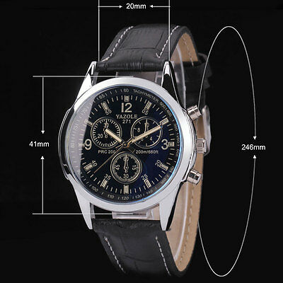 Fashion Men's Black Leather Stainless Steel Military Sport Quartz Wrist Watch..