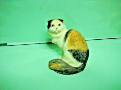 "Scottish Fold Longhaired Cat, 3"" to 4"", Hand Painted Figurine"