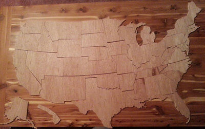 Large Handcrafted 50 State Wooden United States of America Puzzle or Mural (831)