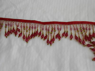Beaded Trim-Wine,green And Pale Pink