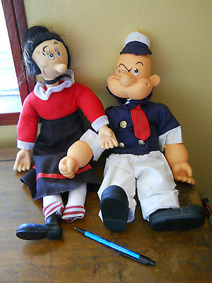"Vintage 17 1/2"" Popeye & Olive Oyl Dolls With Clothes"