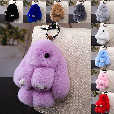 Cute Faux Fur Bunny Fluffy Rabbit Keyring Bag Charm Pendant Key Chain Furry Hot
