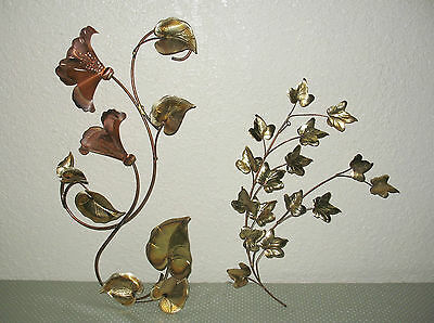 2 Vintage Home Interiors wall deco brass & Copper Leaves & Flowers