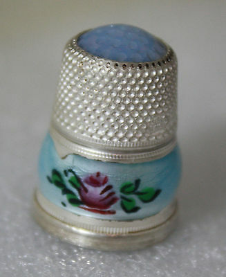 Thimble - German Sterling Silver with Enamel & Stone Top Size 6