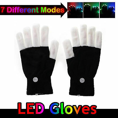 LED Rave Flashing Gloves Glow Mittens Light Up Finger Lighting For Party Xmas