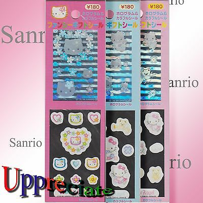 100% Genuine Vintage Hello Kitty Glossy/ 3D Foil Stickers Combo Pack of 3