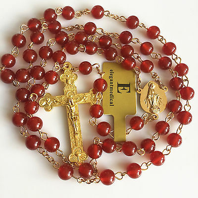 NICE GOLD ROSARY RED Natural Agate ROSE BEADS CROSS CRUCIFIX CATHOLIC NECKLACE
