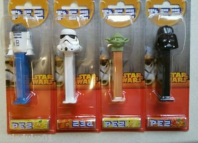 STAR WARS Pez X 4 Dispensers on Card FULL SET MINT SEALED