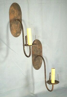 VINTAGE PAIR OF EARLY 20th CENTURY WROUGHT IRON OVAL BACK ELECTRIC SCONCES