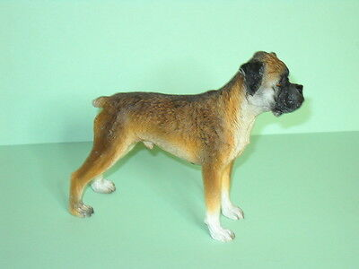 "Boxer 3"" to 4"",Uncropped Dog Figurine,Hand Painted"