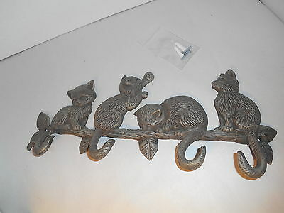 Cast Iron Cat / Kitten (4) Hook Coat / Key / Hat Rack, etc.