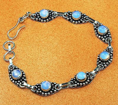 Free Shipping Exclusive Milky Opalite Vintage Look .925 Silver Bracelet
