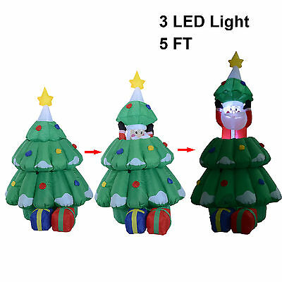 1.6m Inflatable Lifting Christmas Tree And Santa Claus Lighting Xmas Decoration