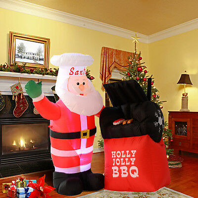 Inflatable Christmas Santa Claus BBQ Restaurant House Out/Indoor Decoration New