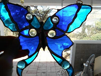 Stained Glass Window Panel  Suncatcher  Artist Signed Blue