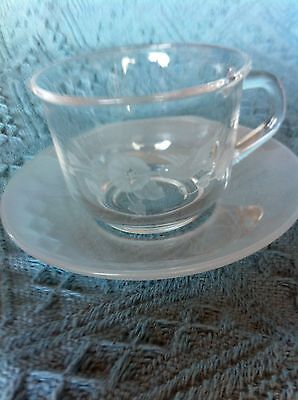 """New Avon 24% Full Lead Crystal Hummingbird 2 1/2"""" Cup And Saucer Set"""