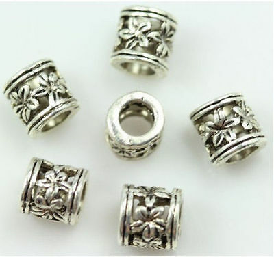 30pcs Fashion beautiful cylindrical hollow out flowers Big hole bead spacer 6mm