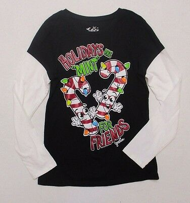 Girls Size 14 JUSTICE COTTON LONG SLEEVE HOLIDAY TOP GUC