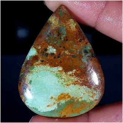 98.55Cts. 100% NATURAL UNTREATED TIBET TURQUOISE PEAR CABOCHON LOOSE GEMSTONES