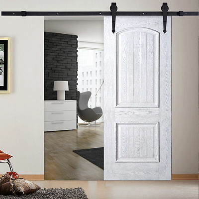 6 FT Black Carbon Steel Sliding Barn Door Hardware Track Rail Kit Wall Mount