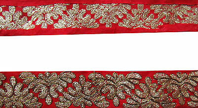 Indian Embroidered Prom Dress Border 1 YD Trim Red Ribbon Craft Lace COLLECTIBLE