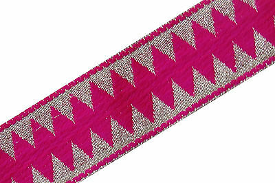 Embroidered Indian Prom Dress Border 1 YD Trim Pink Craft Lace COLLECTIBLE