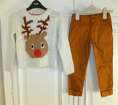 NEXT & MATALAN * Fabulous GIRLS XMAS REINDEER JUMPER TROUSERS Outfit AGE 5 YEARS