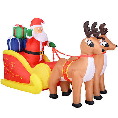 2.1M Inflatable Santa Claus Reindeer Sleigh Outdoor Garden Christmas Decoration
