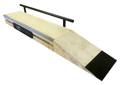 6 Foot Skateboard Grind Box, Rail, & Launch Ramp Combo Package