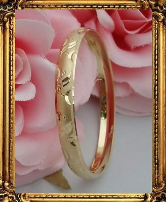 STUNNING Girls 14k Gold Bangle Bracelet Engraved 5-12 y