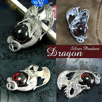 Fashion Red Dragon Red&Black Agate Solid 925 Sterling Silver Pendant Rope Chain