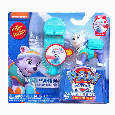 Paw Patrol Action Pack Pup Dog Backpack Projectile Toys SNOWBOARD Everest New