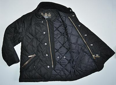 Barbour Kids Size XXS Girls Black Quilted Jacket Age 2-3 Years Leather Detailed