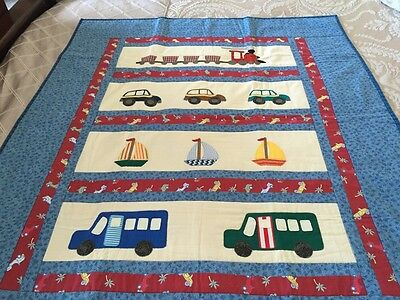"""handmade quilt 'little Trains And Buses' With Appliqué Size 43"""" X 52"""""""
