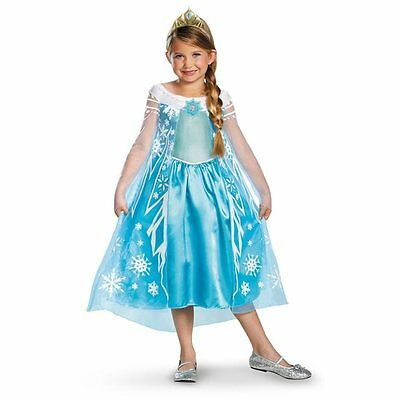 Frozen Elsa Girl's Halloween Costume Disguise Disney Deluxe Kids Size L 10-12