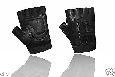 Weight Lifting Gym Leather Padded Gloves All Sports Wheelchair Black 051