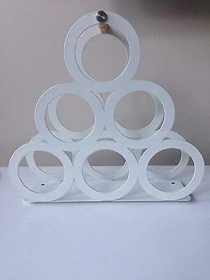 White Metal Wine Rack - Up to 6 bottles