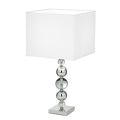 Clear Crystal Table Lamp Complete With White Faux Silk Shade - Silvaner