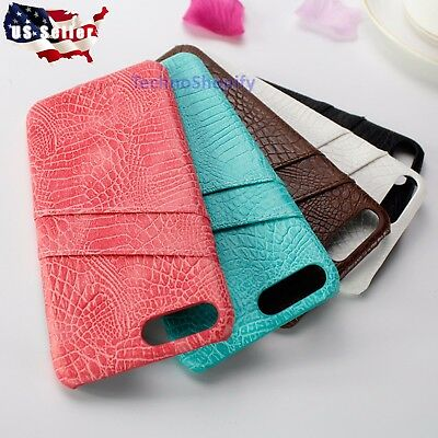 For Apple iPhone 7 7 8Plus Genuine Authentic Slim Leather Wallet Case Card Cover