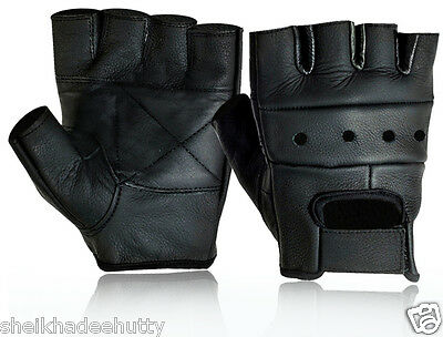 Aniline Leather Padded Weight Lifting Fitness Cycling Gloves Gym Wheel Chair Use