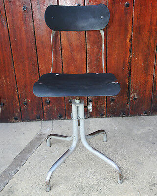 Tan Sad 1950s machinist's chair industrial vintage adjustable swivel office desk
