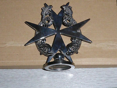 Maltese Cross with 2 Dolphins. Metal vintage car hood mascot or ornament