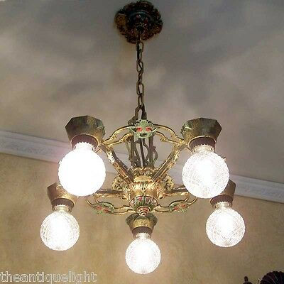 751 Vintage 20s 30s Ceiling Light lamp fixture art nouveau polychrome chandelier