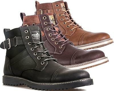 Mens Ankle Boots Faux Leather Smart Casual Classic Combat Lace Up Zip Shoe