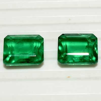 """Stunning Green Shade Emerald Color """"Doublet"""" Octagon Cut 10*8 MM Pair 8.25 Cts"""