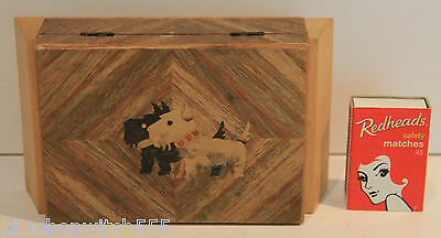 Scottie Dog Trinket Box Wood Lid Hinge Scottish Terriers Jewellery Vintage