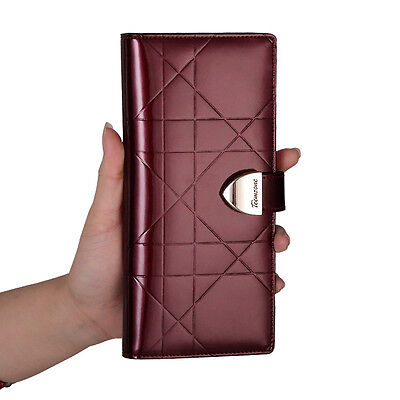 Womens Real Leather Clutch Wallet Business Credit Card Holder Cash Lady Purse