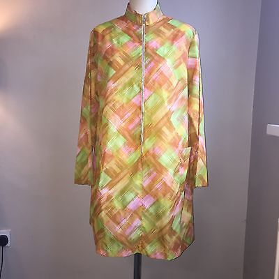 Vintage Tabard 1960s Pinny Apron Multi Coloured Overall Size Large